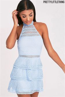 PrettyLittleThing Lace Panel Tiered Skater Dress