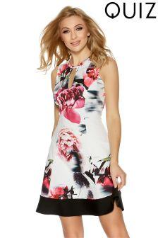 Quiz Floral Print Flippy Skater Dress