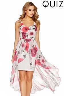 Quiz Floral Print Dip Hem Dress