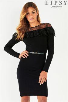 Lipsy Lace Yoke Belted Dress