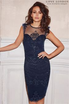 Lipsy Love Michelle Keegan Petite Sequin Artwork Frill Sleeve Bodycon Dress