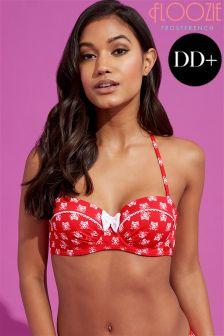 Floozie Red Skull Underwired Bikini Top DD+