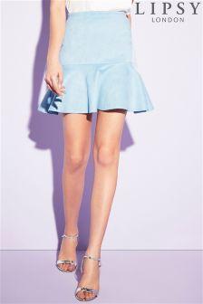 Lipsy Frill Hem Suede Skirt