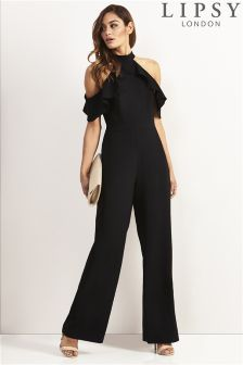 Lipsy Petite Ruffle Cold Shoulder Jumpsuit
