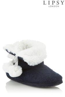Lipsy Pom Pom Knit Bootie Slippers