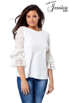 Jessica Wright Lace Sleeve Top