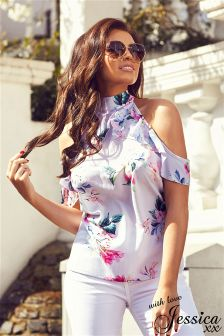 Jessica Wright Floral Print Frill Cold Shoulder Top