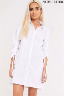 PrettyLittleThing Ruched Sleeve Shirt Dress