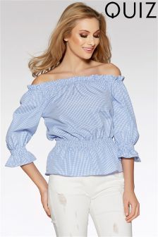 Quiz Bardot Elasticated Waist And Sleeve Blouse