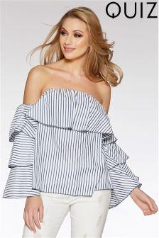 Quiz Bardot Stripe Frill Blouse