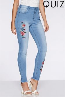 Quiz Light Denim Embroidery Frayed Hem Jeans