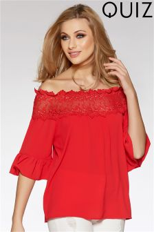 Quiz Crochet Lace Bardot Frill Sleeve Top