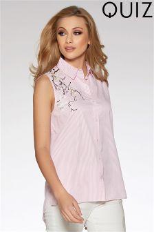Quiz Sleeveless Embroidered Shirt