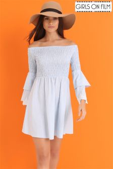 Girls On Film Double Flute Sleeved Shearing Chambray Skater Dress