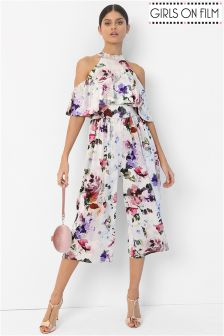 Girls On Film Cold Shoulder Floral Print Jumpsuit
