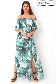 Girls On Film Printed Bardot Split Front Maxi Dress