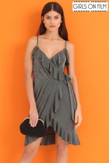 Girls On Film Frill Front Drape Wrap Over Dress