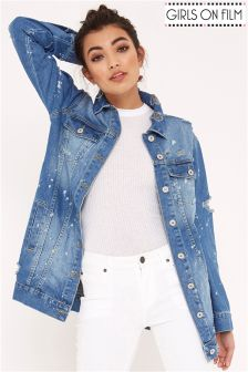 Girls On Film Distressed Denim Jacket