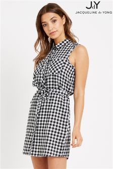 JDY Gingham Check Cotton Shirt Dress