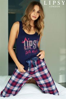 Lipsy Late Night Vest And Check Trouser PJ Set