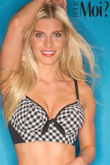 Pour Moi Checkers Longline Underwired Bikini Top