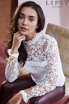 Lipsy Long Sleeve Lace Frill Top