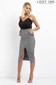 Lost Ink Frill Pocket Pencil Skirt