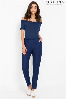 Lost Ink Denim Bardot Jumpsuit