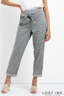 Lost Ink Stripe Tie Front Trouser