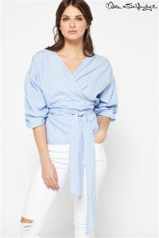 Miss Selfridge Stripe Poplin Puff Wrap Blouse