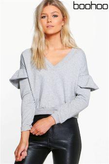Boohoo Petite V neck Frill Sweater