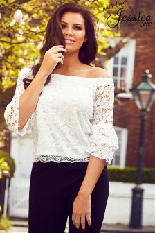 Jessica Wright Gigi Bardot Lace Frill Sleeve Top