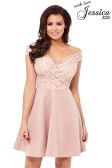 Jessica Wright Lace Bardot Skater Dress