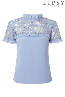 Lipsy Love Michelle Keegan Lace Frill Shell Top