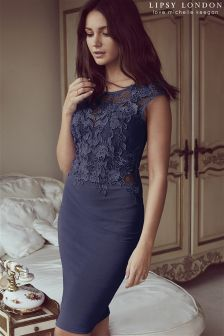 Lipsy Love Michelle Keegan Lace Appliqué Navy Bodycon Dress