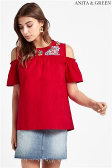 Anita & Green Cold Shoulder Pom Pom Blouse