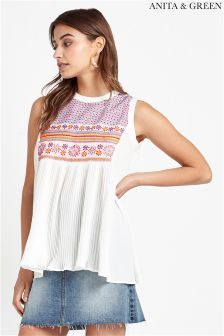Anita & Green Embroidered Pleated Top