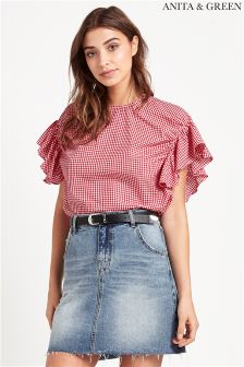 Anita & Green Gingham Frill Sleeve Top