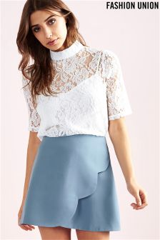 Fashion Union Lace Short Sleeve Top