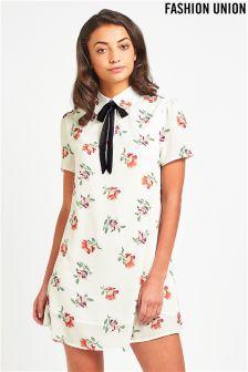 Fashion Union Tie Neck Dress In Exclusive Print