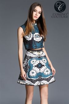 Comino Couture High Neck Printed Crop Top
