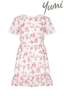 Yumi Girl Floral Frill Short Sleeve Dress