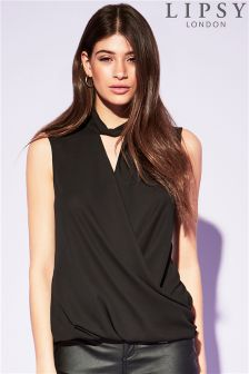 Lipsy Black Sleeveless Choker Wrap Blouse