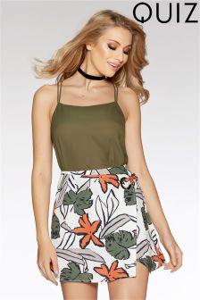 Quiz Print Crossover Ring Detail Skirt