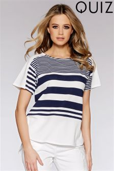 Quiz Crepe Stripe Cap Sleeve Tail Hem Top