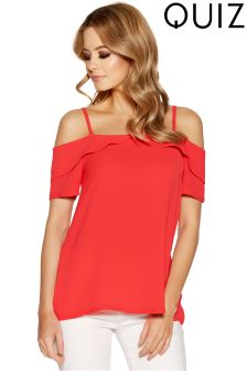 Quiz Crepe Cold Shoulder Frill Top