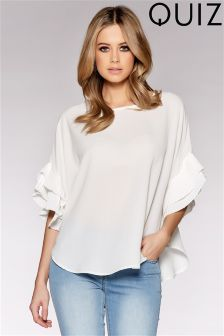 Quiz Crepe Double Pleated Sleeve Dip Hem Top