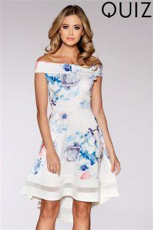 Quiz Scuba Floral Print Bardot Mesh Insert Dip Hem Dress