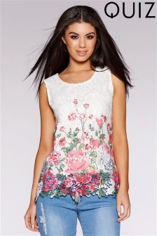 Quiz Crochet Flower Border Print Sleeveless Top