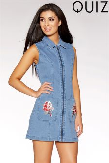 Quiz Zip Front Floral Embroidered Denim Dress